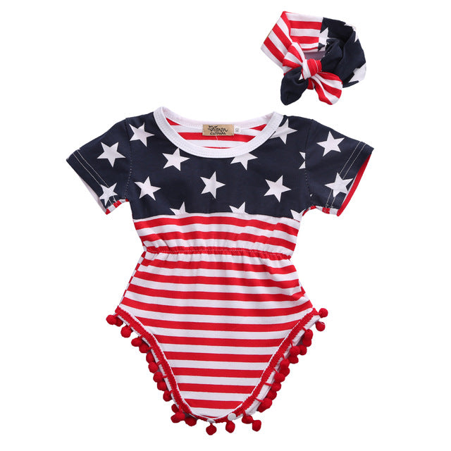 New Fashion Newborn Baby Infant Boy Girl Romper Short Sleeve Jumpsuit Striped Cotton Outfits Clothes-eosegal