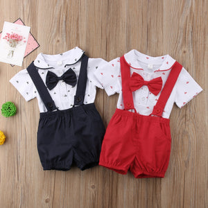 2018 Infant Summer Gentleman Clothes Sets Baby Boys Girls Short Sleeve Romper Suspender Shorts 2pcs Summer Set-eosegal