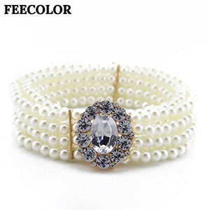 Noble White Pearls Waist Belts Large Rhinestone Buckles Elastic Waistbands Women's Dress Decorative Multi Layer-eosegal