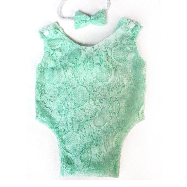 Baby Photography Props Newborn Headband Romper Set Mewborn Lace Bowknot Rompers Infant Outfit Baby Photography Accessories-eosegal