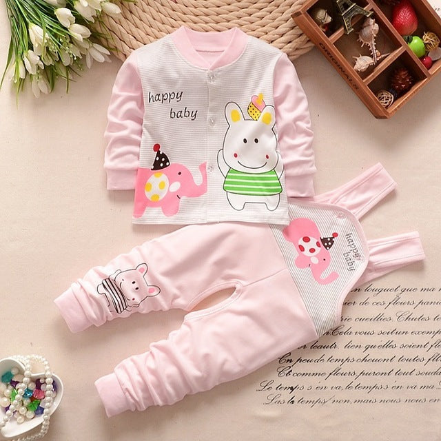 Baby girl Boy newborn Clothes 2018 Autumn Print Long T-shirt Tops + Overalls Pants 2PCS Outfits Kids Bebes Jogging Suit romper-eosegal
