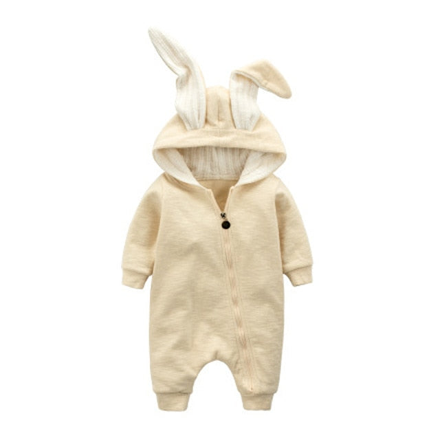 Baby Bunny Ear Rompers Infant Rabbit Jumpsuit Outfit Cotton Boys Girls Hare Playsuits Hooded Clothes Bunny Pajamas Ruffle Romper-eosegal