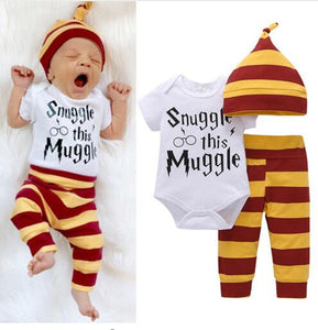 3PCS Baby Clothing Set Newborn Baby Boys Girls Letter Muggle Bodysuit+Stripe Pants+Hat Outfits Clothes 0-24M Super Cute-eosegal