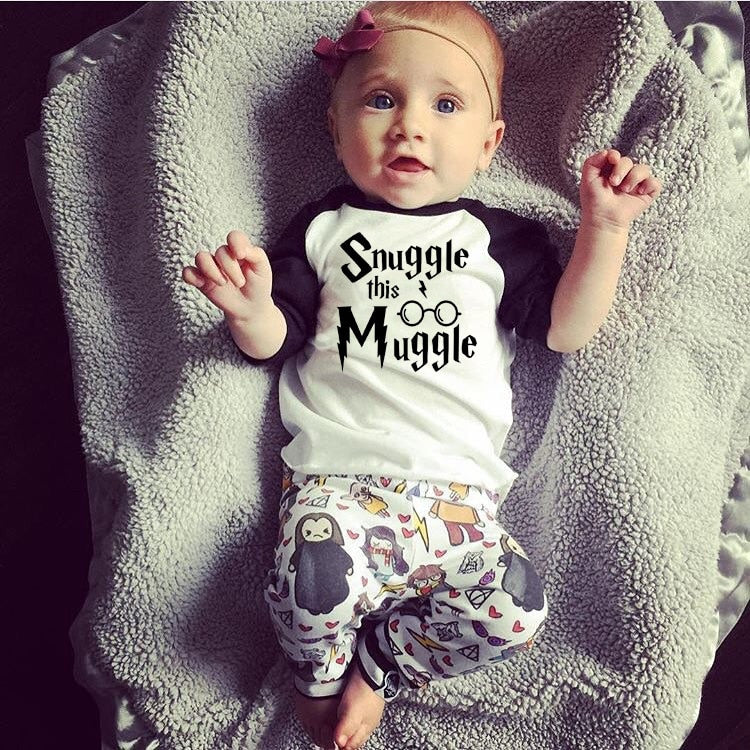 Newborn Baby Boys Girl Clothes 2018 New Summer Snuggle This Muggle T-Shirt +Harri Potter Pants Infant Toddle kids Outfit Set-eosegal