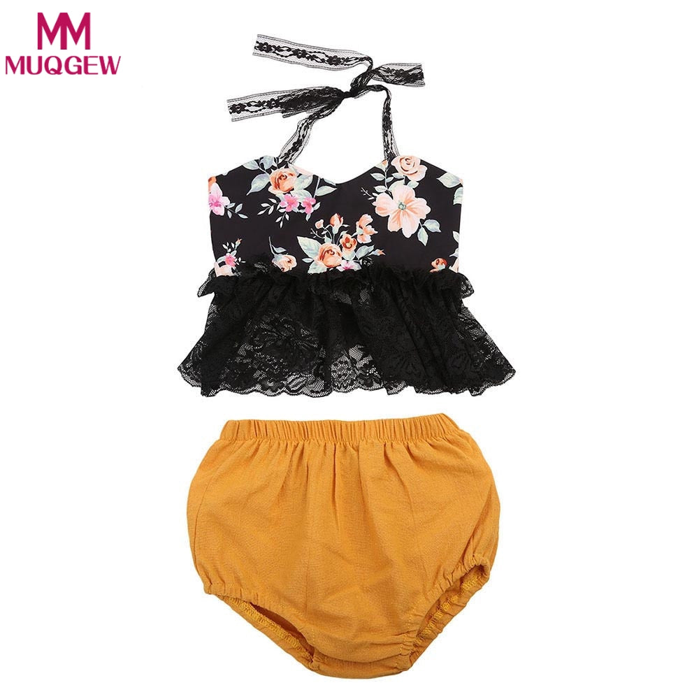 2018 Newborn Baby Girl summer clothes Set Lace Halter Floral Tops+shorts Suit baby Outfit 2Pcs Sunsuit conjuntos bebe-eosegal