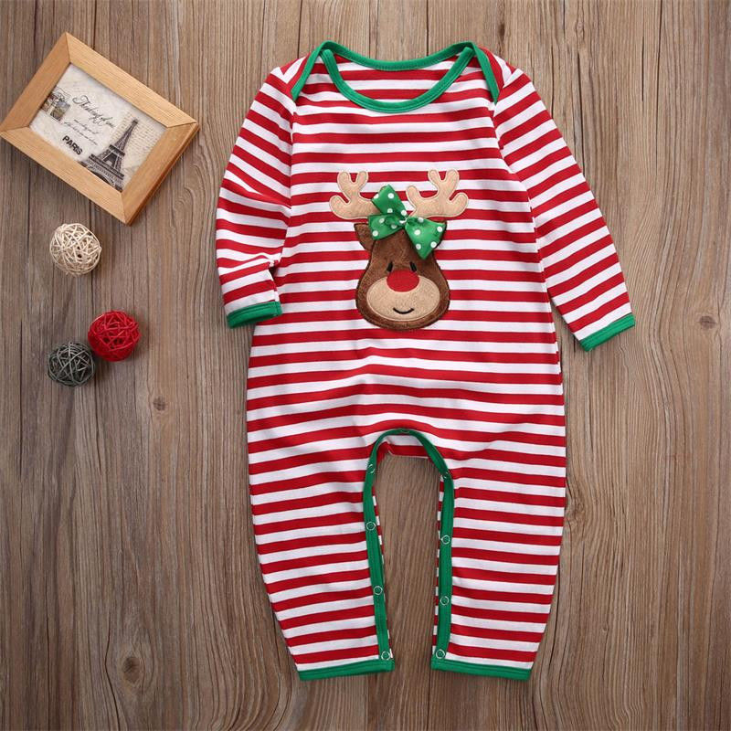 2018 Christmas Baby Girls Boys Clothes Newborn Infant baby Striped Romper Kids Christmas Costume Clothing 0-24M-eosegal