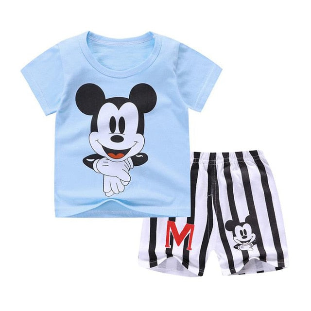 Baby Boy Summer Mickey Clothes Infant Newborn Boy Clothing Set Sports Tshirt+ Shorts Suits-eosegal