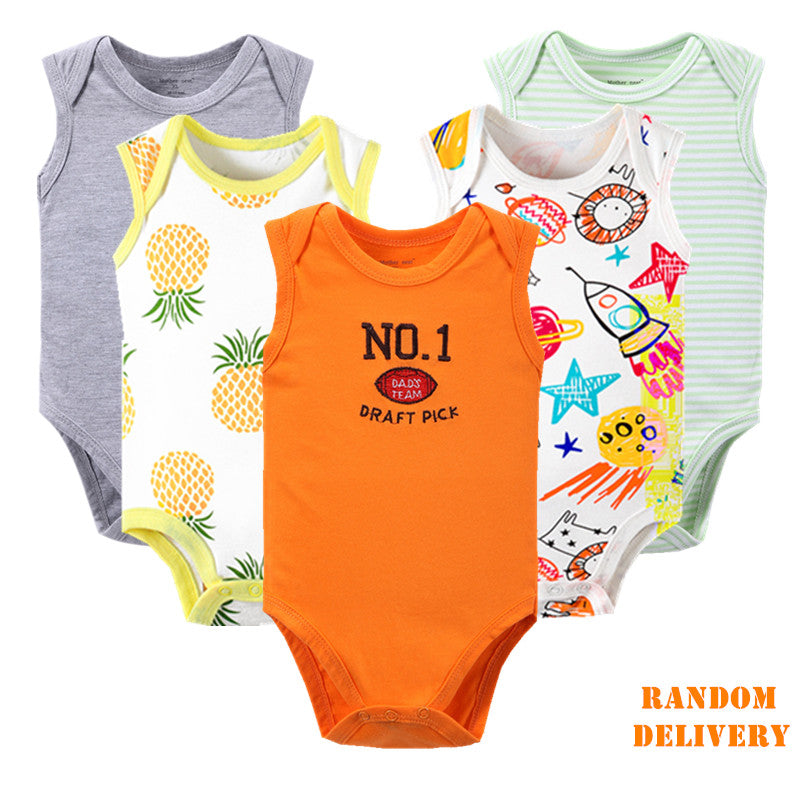 5pcs/lot Cotton Baby Newborn Sleeveless Cartoon Baby Clothes 2018 Summer Infant Boy Girl Jumpsuits Cute Roupas Bebe Kid Clothing-eosegal