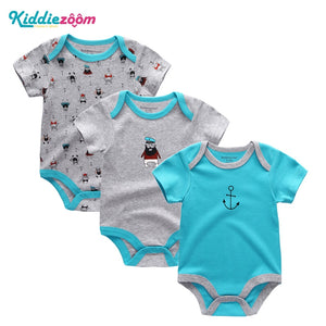 3Pcs/Lot Baby Boy Romper Summer Unisex Infant Clothing Cotton Short Sleeve O-neck Newborn Baby Girl Clothes Jumpsuit-eosegal