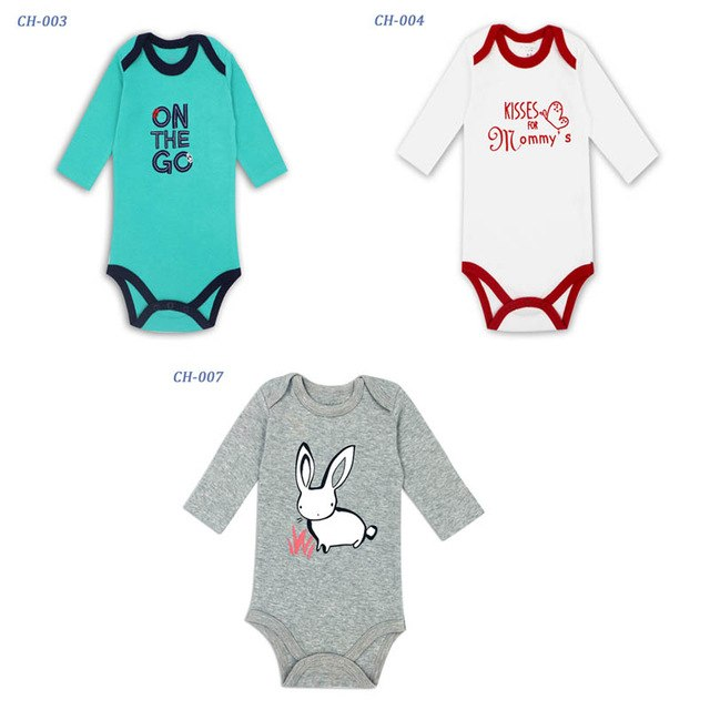 3 pieces/lot Cotton Baby suit rompers Newborn Cotton Body Baby Long Sleeve Underwear Infant Baby Boys Girls Clothes Sets-eosegal