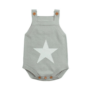 Summer Sleeveless Bodysuits For Boys Onesie White Star Knit Newborn Baby Girls Coveralls Grey Toddler Sunsuit Children Body Suit-eosegal