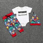 NEW 3PCS Newborn Super hero Baby's Sets Avengers Print Sleeves Romper +Pants Hat Spiderman iron Man Baby Boys Clothes Sets 0-18-eosegal