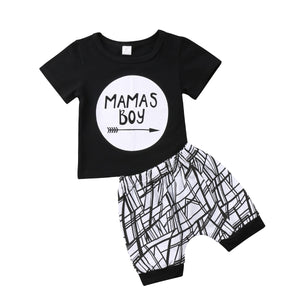 Fashion Newborn Infant Baby Boy Toddler Letter Printed Boy Cotton T-shirt Tops+Short Outfit Clothes-eosegal
