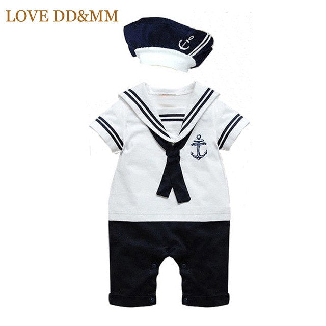 LOVE DD&MM Baby Rompers Newborn Navy Style Clothing Baby Boys Clothes Rompers+Hat Tie Sets Summer Short-sleeve Sailor Suits-eosegal