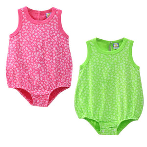Girl's vest cotton jumpsuit 2 pieces/lot Baby Bodysuits Toddler Clothes O Neck Clothing Summer Suits 2018 Little Q New Costume-eosegal