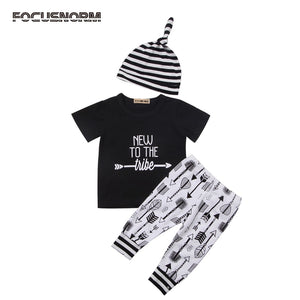 New Cute Newborn Toddler Baby Boy Girl Clothes Letter Tops Long Pants Striped Hat Outfits Set 3Pcs-eosegal
