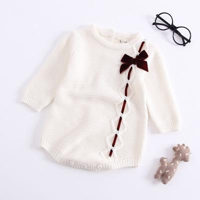 2018 Children's Bodysuit Wear Baby Knitted Baby Girls Bow Tie Long Sleeves Climbing Suits Baby Girl Clothes Bodysuit Baby-eosegal