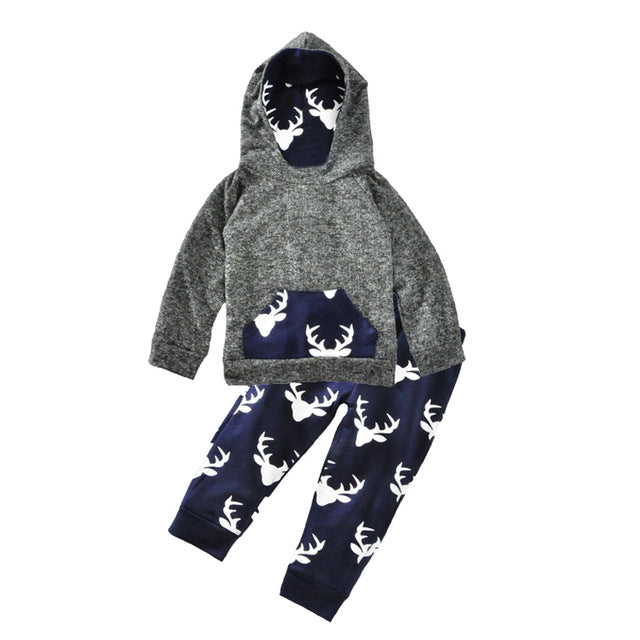 Baby Boy Clothing Set Christmas Animal Dog Kids Infant Clothes Autumn Cartoon T-shirt+Star Smile Face Pants Girl Clothing Sets-eosegal