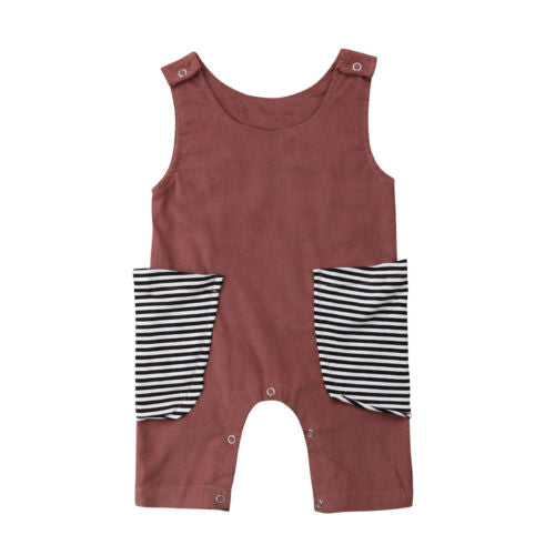Newborn Baby Girls Boys Striped Pocket Pactchwork Romper Short Pants Jumpsuit Outfits Clothes Summer 0-24M-eosegal