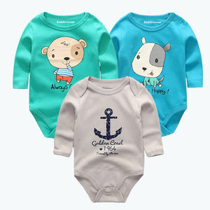 3Pcs/Lot Newborns Baby Boys Bodysuits O-Neck 3 6 9 12Monthes 100%Cotton Girls Clothes Baby Jumpsuit Summer Baby Boy Clothing-eosegal