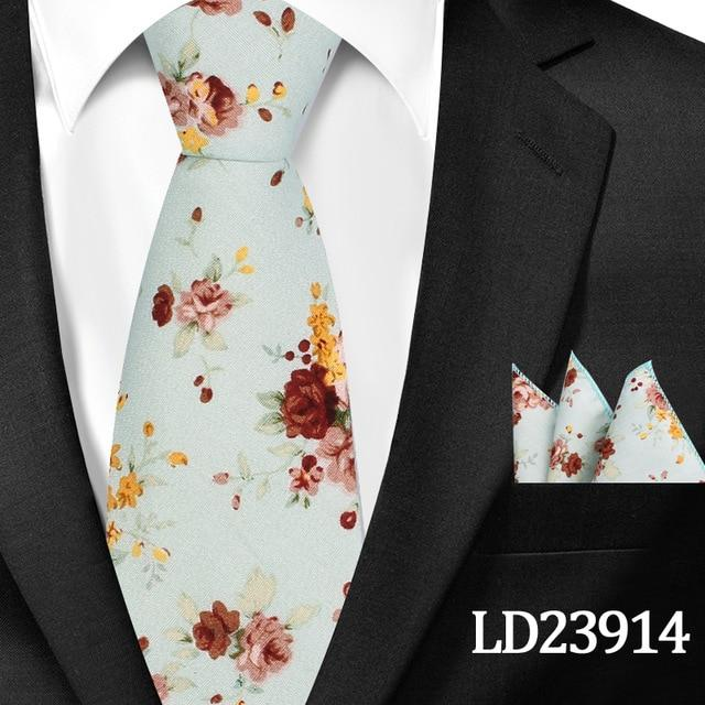 New Casual Floral Cotton Ties And Pocket Square Sets Flower Print Skinnyeosegal-eosegal