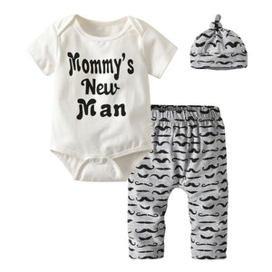 3Pcs Cute Newborn Baby Boys Clothes Mommy's New Man Letter Bodysuit+Moustache Pants+Hat Outfits Infan Clothing Sets-eosegal
