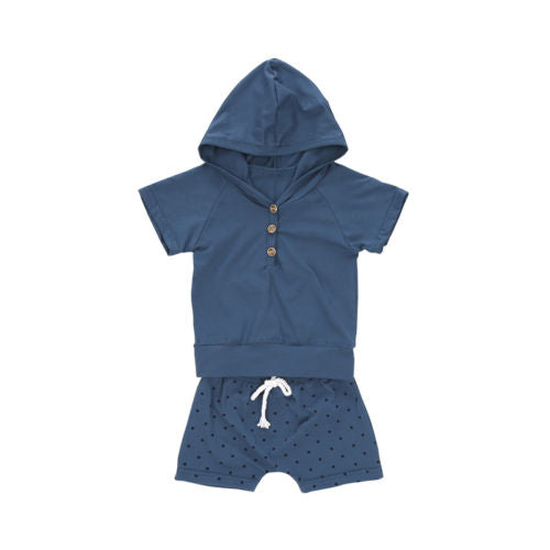Newborn Baby Boy Summer Hooded Sweatshirt T-shirt+Shorts 2PCS Outfits Cothes Set-eosegal