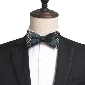 New Fashion Mens Handmade Feather and Leather Bow Tie Pre-tied Bowtieeosegal-eosegal