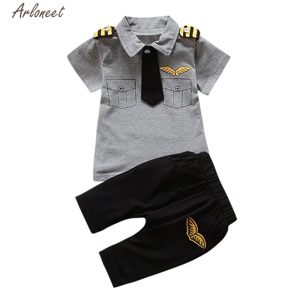 TELOTUNY Baby Girl Clothes Unisex Newborn Infant Baby Boys Girls Gentleman Tie Tops Shirt Pants 2Pcs Outfits Set  Y120830-eosegal