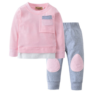 Autumn Baby Boy Girl Clothes Newborn Infant Long Sleeve Cotton Pink Green Patchwork T-shirt + Pants Toddler Clothing Outfit Set-eosegal