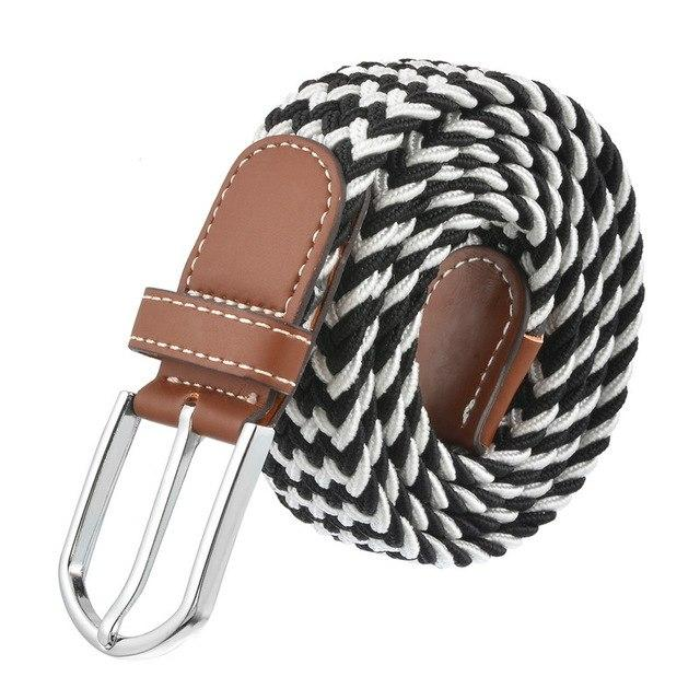 NIBESSER Fashion Men Women Braided Rope Belts Stretchable Fabric Knitted Strap Belt Elastic Buckle Leather Waistband Belts Femme-eosegal