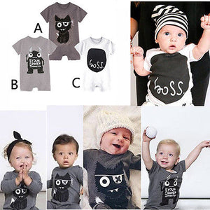 Newborn Kids Baby Boy Girl Cotton Monster Jumpsuit Bodysuit Clothes-eosegal