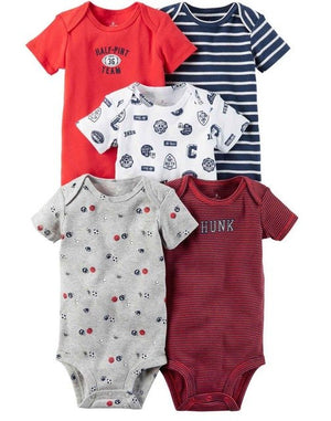 5PCS/LOT Baby Girl Boy Romper Top Quality 100% Cotton Short Sleeves 0-24M Newborn infant Baby Boys Girls Jumpsuit-eosegal