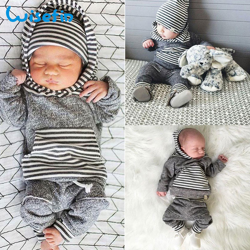Wisefin Hooded Newborn Clothing Boy Striped Gray Long Sleeve Infant Outfits Set 2 Piece Fashion Winter Toddler Baby Boy Clothes-eosegal