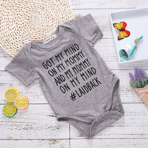 Grey Bodysuit Mommy And Me Clothes Newborn Toddler Infants Funny Letter Baby Body Tiny Cottons Baby Girl Boys Clothing Onesie-eosegal