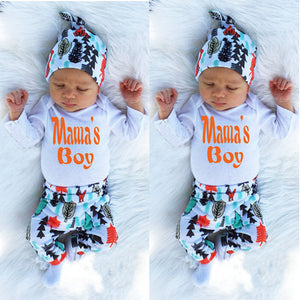 Mom's Boy Infant Baby Boy Girl Outfits Clothes Romper Pants Leggings 3PCS Set Baby Clothing-eosegal