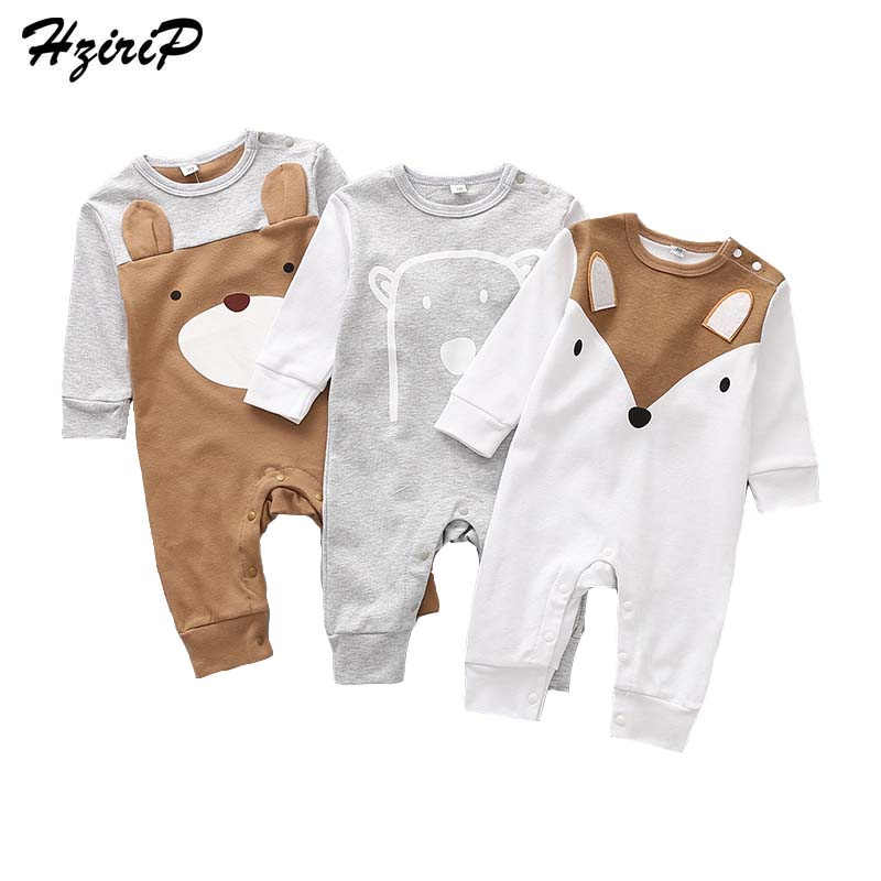 HziriP Toddler Baby Rompers New 2018 Autumn Casual Cartoon Fox Bear Long-sleeved Cotton Jumpsuit Newborn Girls Boys Clothing-eosegal