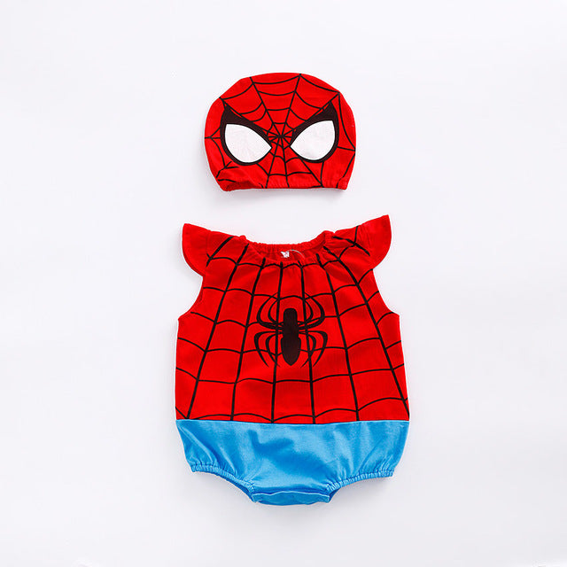 1pc romper 1pc Hat Newborn Baby Cotton rompers suits baby boys' clothing Dragon Ball Spiderman Hero outifts Summer jumpsuits-eosegal