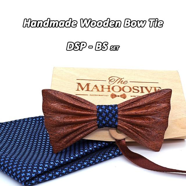 NEW 2018 Handmade wooden Bow Tie Handerchief Set Fashion Wood boweosegal-eosegal