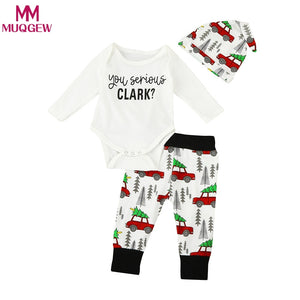 Newborn Infant Baby Boys Tops Letter Rompers + Long Pants Legging Car Printing +Hat Playsuit Baby Boy Clothes Outfit Set 3pcs-eosegal