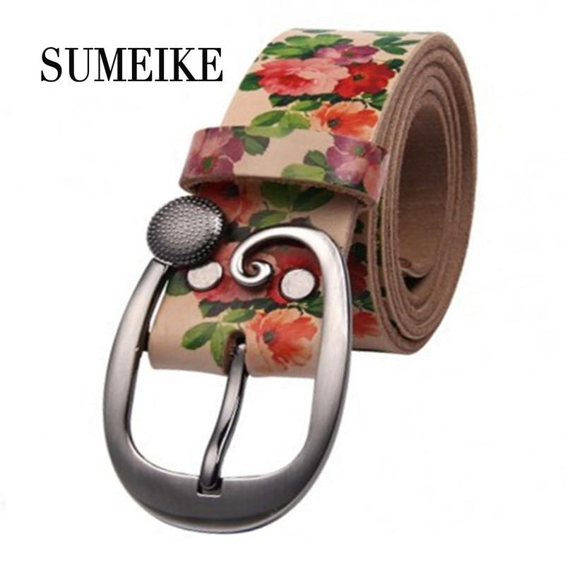 Women Wide Belt Ladies Flower Print Luxury Brand Genuine Leather Belt Female Strap Ceinture Femme Fashion Jeans Belts For Women-eosegal
