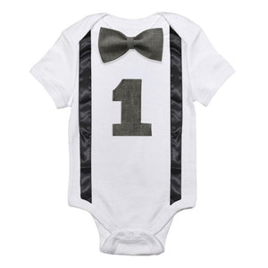 Baby Boy 1st Birthday Romper Toddler Boys Summer Clothes Infant Jumpsuits For 1 Year Old Little Baby White Gentleman Rompers 12M-eosegal