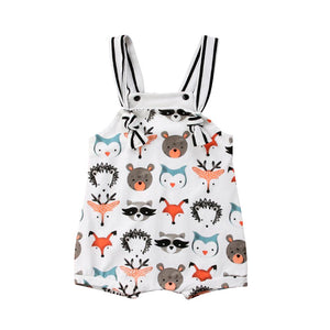 Cute Newborn Infant Baby Girl Boys Sleeveless Animal Foxs Summer Bibs Romper Jumpsuit Outfit Clothes-eosegal