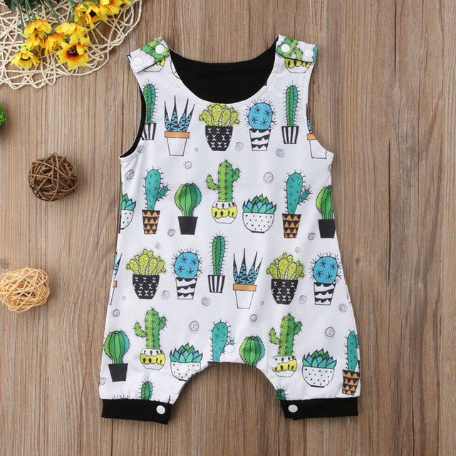 65280d300d9f 2018 Brand New Newborn Infant Toddler Baby Boy Girl Floral Sleeveless Romper  Jumpsuit Clothes Cactus Outfit