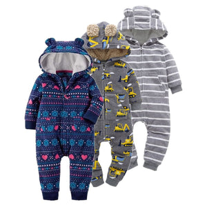 Newborn Baby Rompers Cotton Padded Thicken Warm Girls Clothing Set Autumn Cartoon Toddler Hooded Clothes Unisex Infant Jumpsuits-eosegal