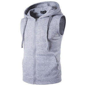 With Pockets Sleeveless Hoodies Men Zipper Up Off Shoulder Summer Sweatshirts 2017eosegal-eosegal