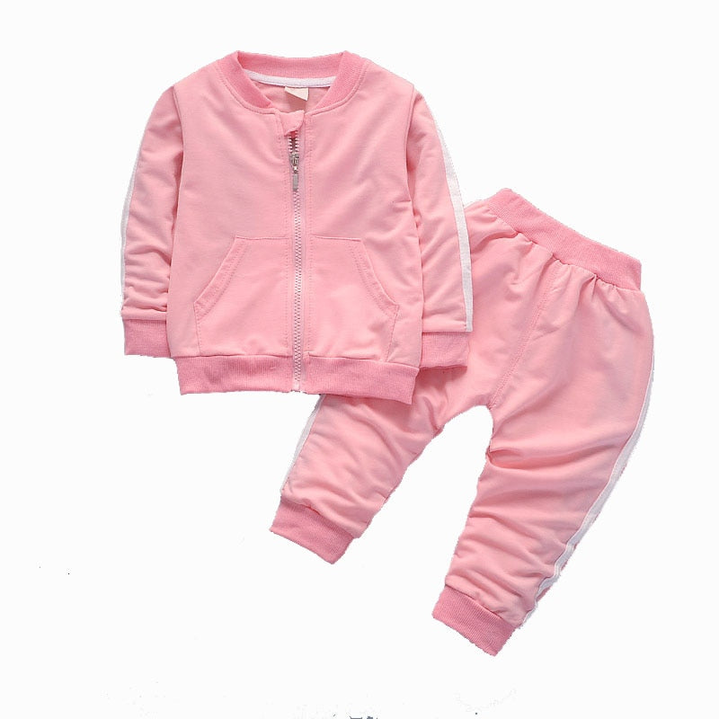 Baby Girl Clothes Set Spring Autumn Long Sleeved Cardigan Coat With Zipper + Pants 2PCS Infant Clothing Kids Bebes Jogging Suits-eosegal