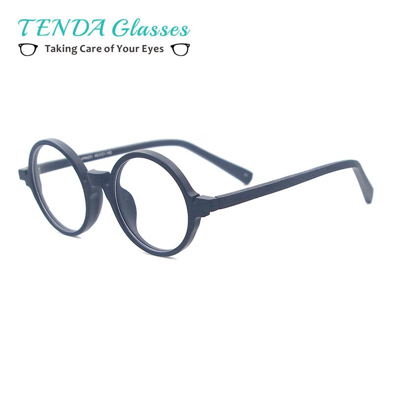 Acetate Small Spectacles Round Wood Texture Vintage Glasses Frames For Eyeglass Lenseseosegal-eosegal