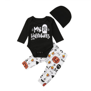My 1st Halloween Clothes Newborn Baby Girl Boy Long Sleeve Romper Long Pants Set-eosegal