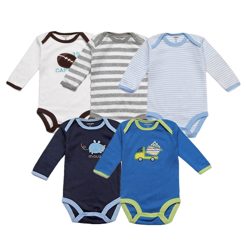 Unisex Baby Rompers 5 Packs Cotton Full Infant Jumpsuit Spring Boys O-neck Overalls Newborn Cartoon Clothing Baby Girl Clothes-eosegal